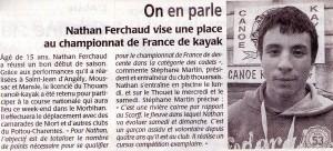 Nathan FERCHAUD - Courrier de l'ouest du 21.02.2014